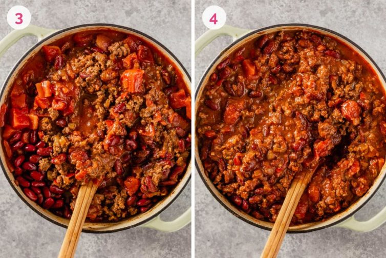 The ground beef chili in a dutch oven before cooking down on the left with the number 3 and the ground beef chili in a dutch oven on the right after simmering with the number 4.