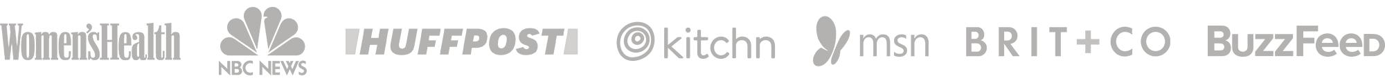 Press logos: Women's Health, NBC News, HuffPost, The Kitchen, MSN, Brit+Co, Buzzfeed