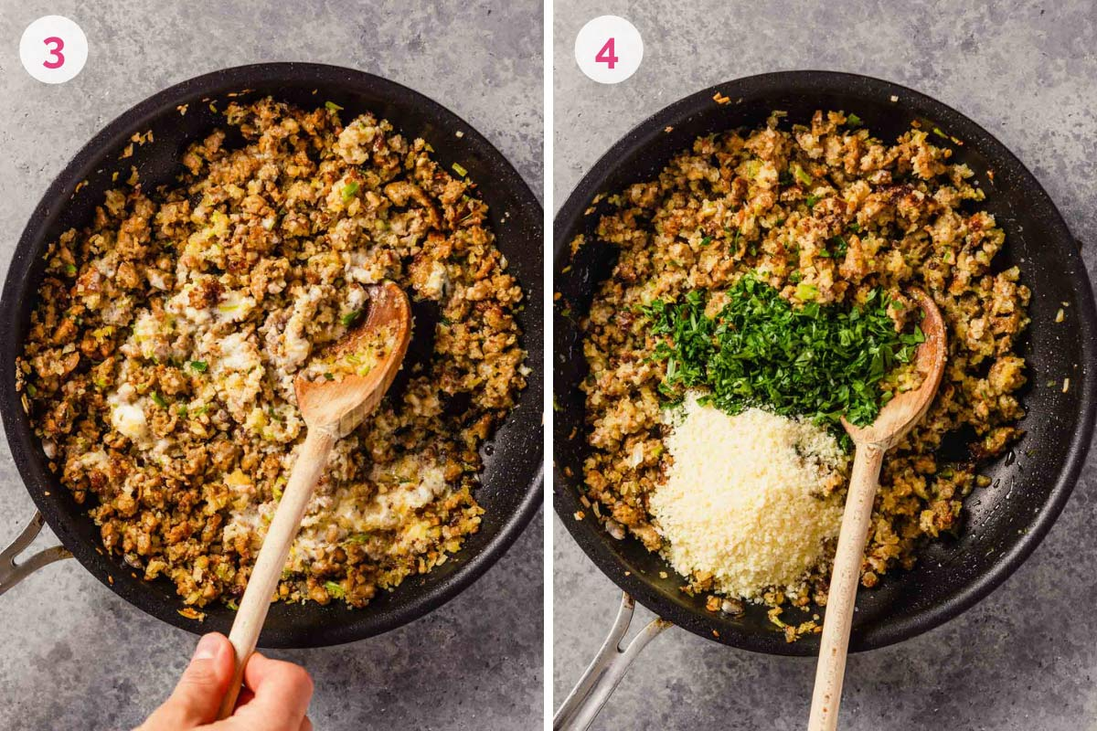 A photo on the left with the mascarpone added to the sausage on the left with the number 3 and a skillet with the seasoning added to the sausage on the right with the number 4.