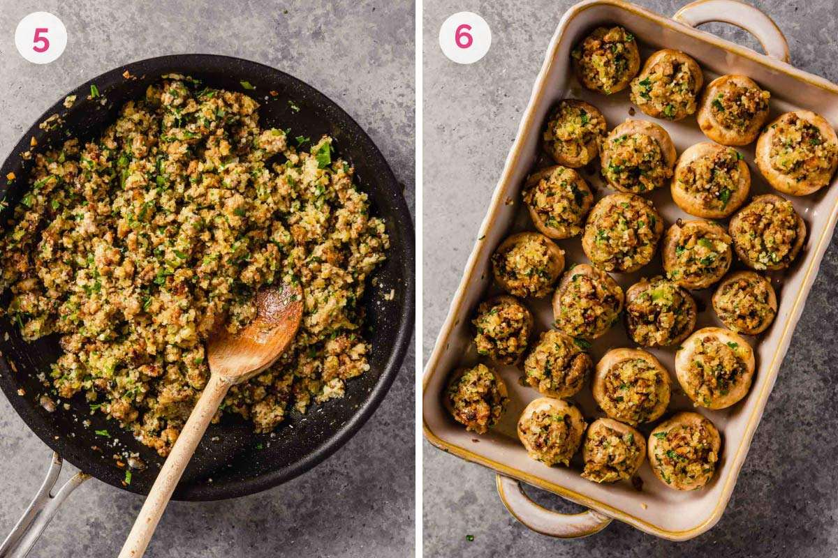 A skillet on the left with the number 5 showing the sausage filling all mixed together and a photo on the right showing the stuffed mushrooms in a baking dish with the number 6.