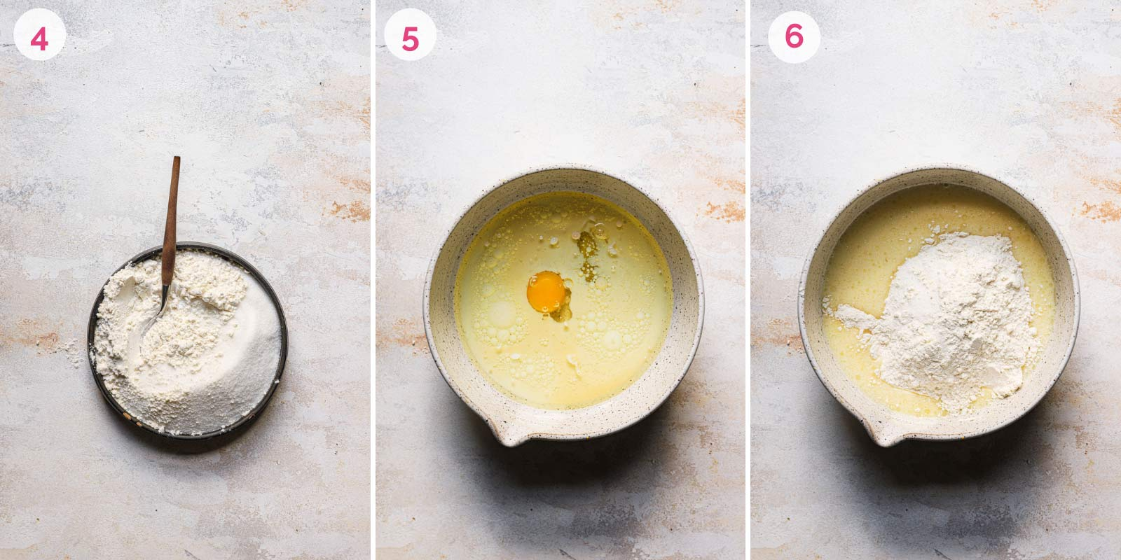 Step-by-step photos of mixing together the batter for French apple cake.