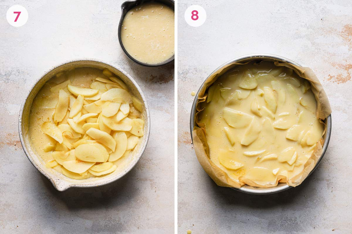 Side-by-side photos of apples mixed into cake batter in a springform pan.