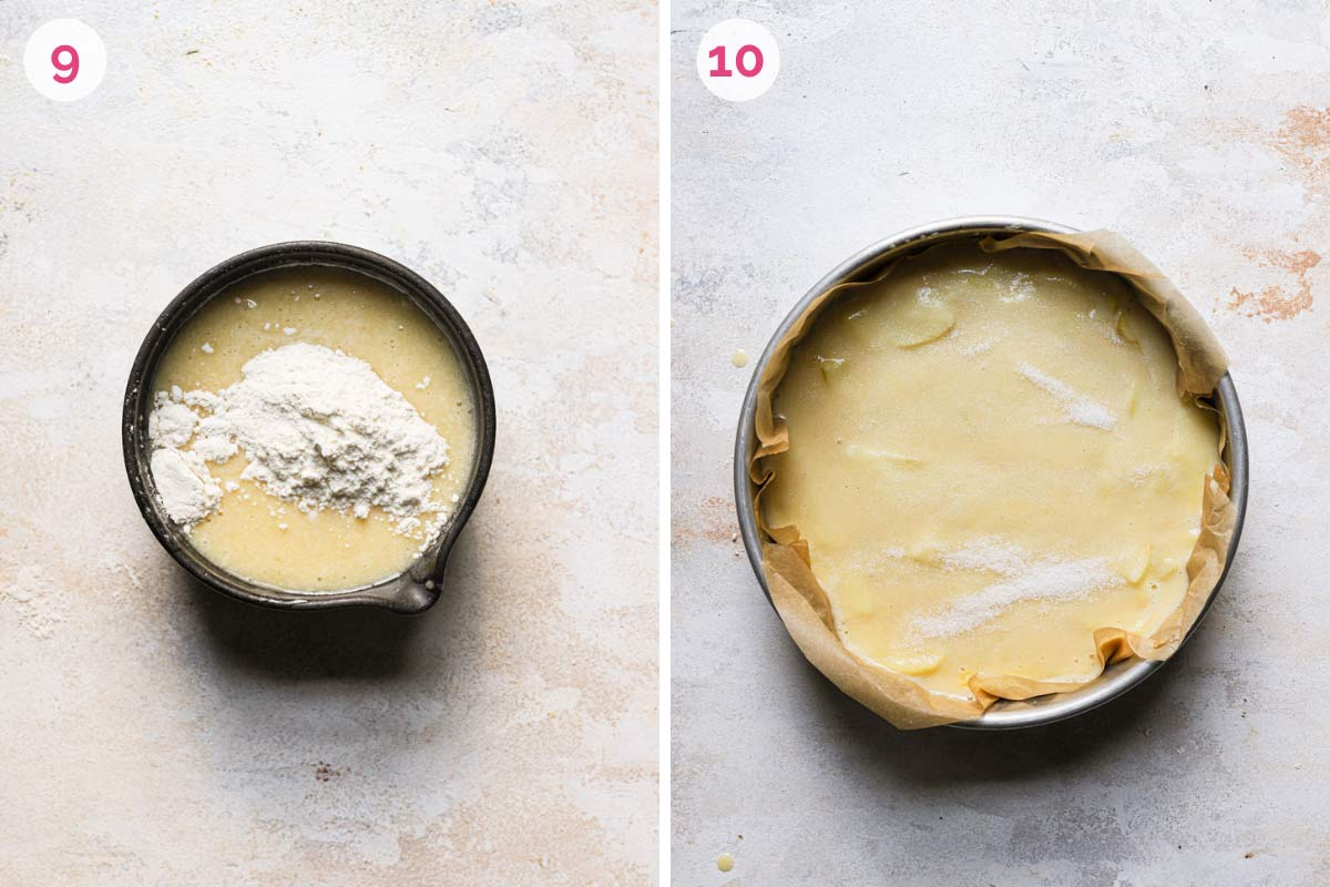 Whisking flour into cake batter, then spread into a springform pan and sprinkled with sugar.
