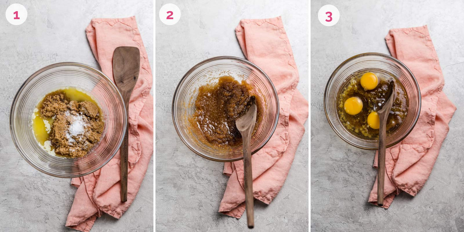 Step by step photos of mixing together pecan pie filling.