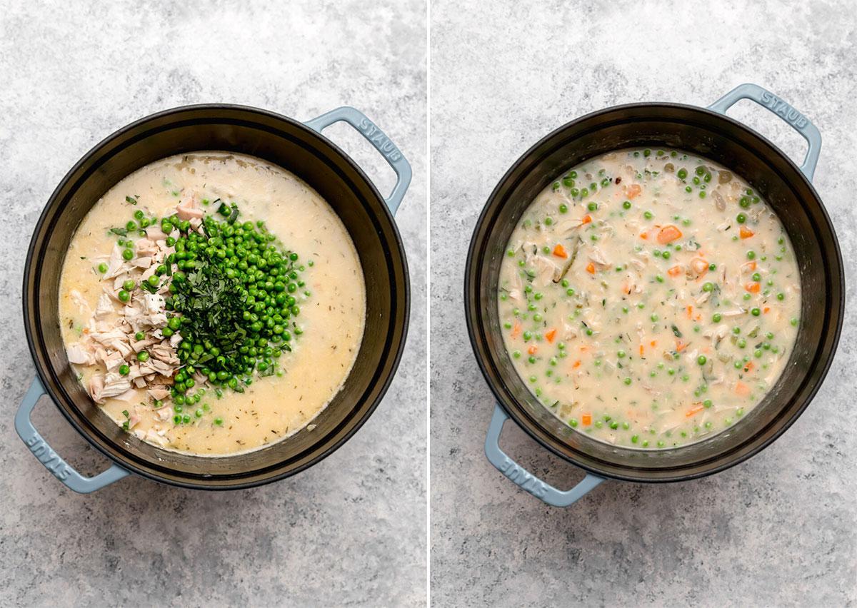 Chicken, parsley and peas being stirred into chicken stew.