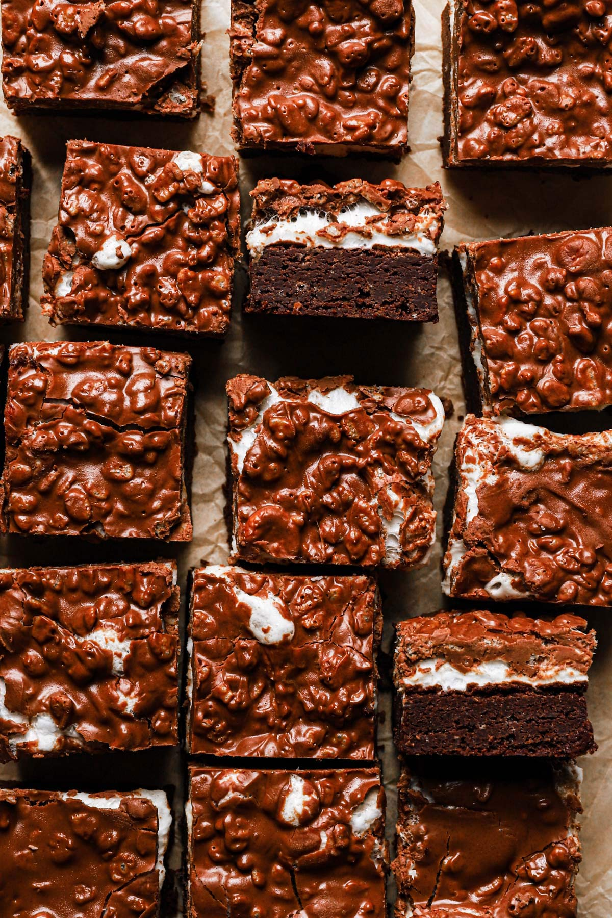 a baking sheet of these fudgey marshmallow crunch brownie bars