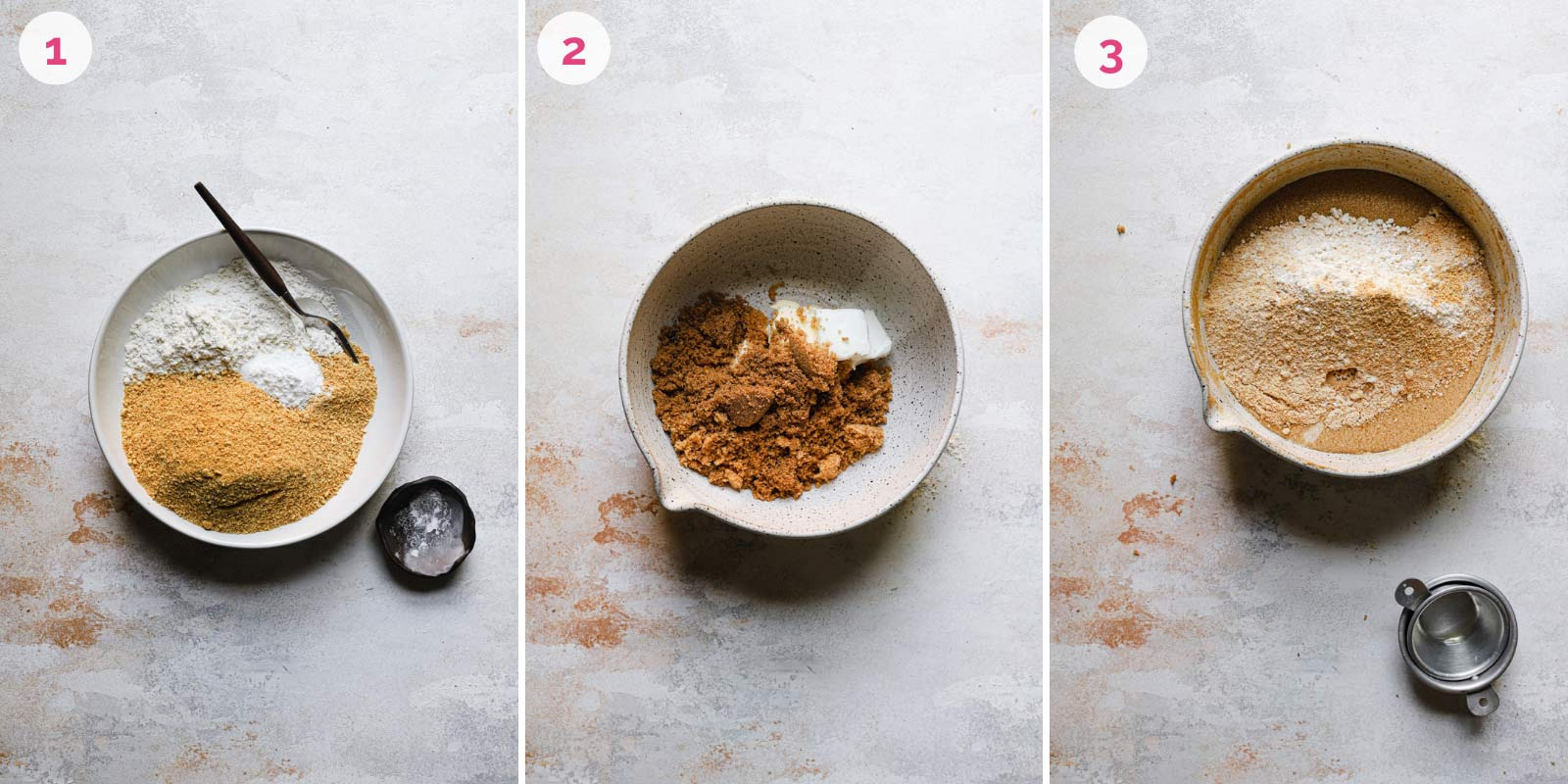 Three separate images of mixing together dough for graham whoopie cookies.