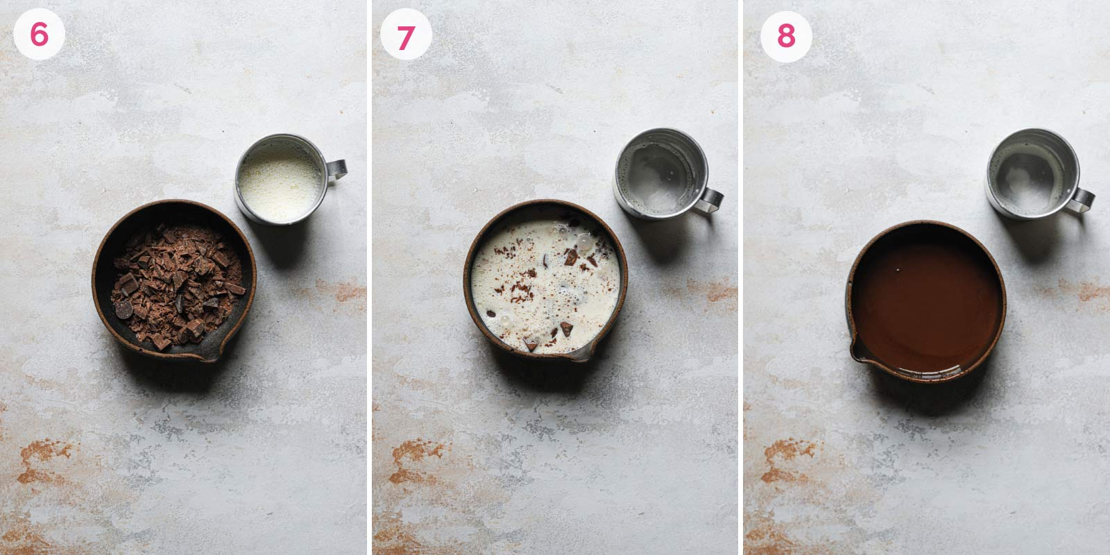 Three step by step photos of chocolate ganache being made in small mixing bowl.