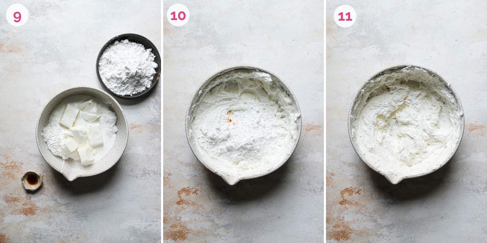 Marshmallow filling mixed together in a stainless steel mixing bowl.